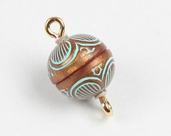 10mm Magnetic Clasps in Copper and Turquoise Pattern
