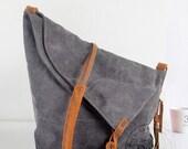 Gray Genuine Cow leather bag canvas bag BACKPACK Leather Briefcase / leather Messenger bag / Laptop bag / Men's leather canvas Bag