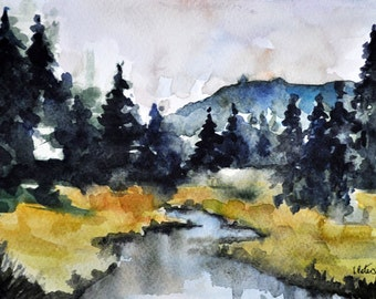 ORIGINAL Watercolor Mountain Landscape Painting, Abstract Landscape 6x8 Inch