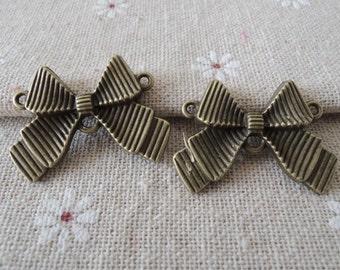 6Pcs  39X21mm antique bronze  bowknot connector (A203)
