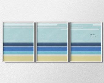 Beach Art, Beach Prints, 3 Piece Print Set, Coastal Wall Art, Minimalist Art Print, Modern Home Decor, Beach House Decor, Beach Decor, 0001