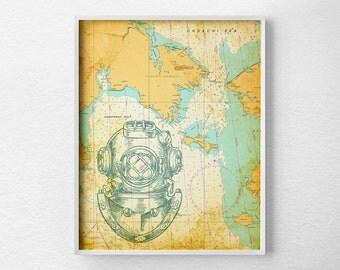 Nautical Map Art, Nautical Poster, Nautical Print, Scuba Print, Beach House Decor, Vintage Nautical Print, Nautical Chart, Ocean Print, 0282