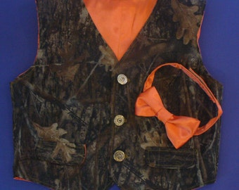 Toddler Camo Vest with Satin Bow Tie
