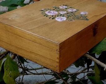 Vintage Handmade and painted Wooden Treasure Box