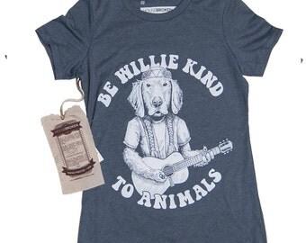 Golden Retriever Shirt - Willie Nelson Shirt- Be Willie Kind To Animals