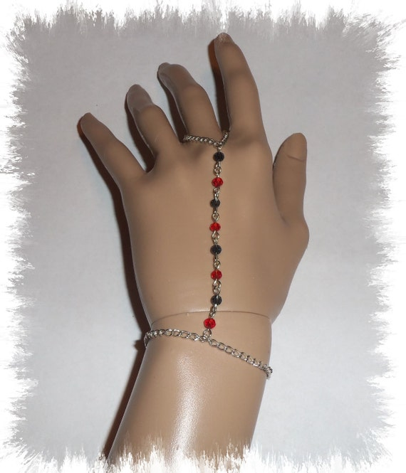 Red And Black Silver Plated Finger Bracelet
