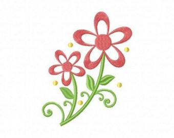 Curly Red Floral Machine Embroidery Design