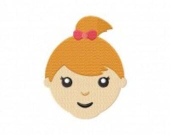 Cute Girl Face Machine Embroidery Design