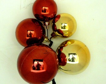 Red Gold Christmas Ball Cluster-one pair