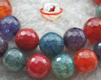 Fire Agate faceted round beads 10mm,37 pcs