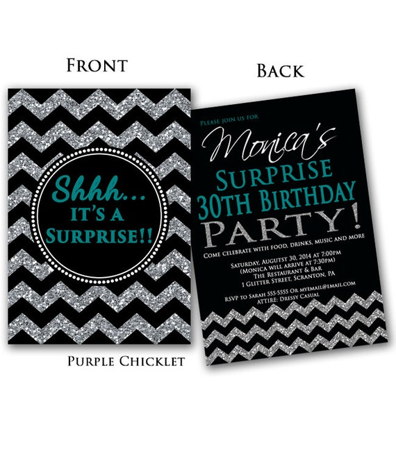 Teal Surprise 30th Birthday Invitation Black By PurpleChicklet