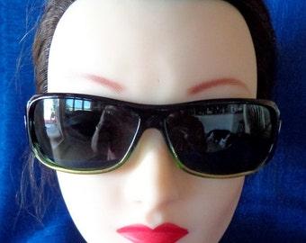 Sale Vintage 2-Tone Sunglasses, Black and Green Sunglasses,Unisex Sunglasses