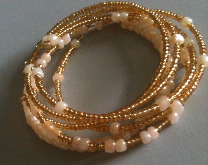 clearance! gold and cream glass stackable memory wire bracelets