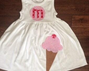 Personalized Ice Cream Cone Applique Dress-You choose Color