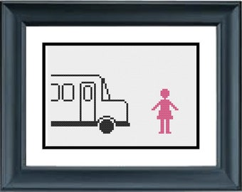 Girl Gets Hit By a Bus - Mean Girls - PDF Cross-Stitch Pattern