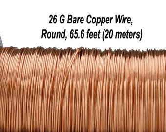 26 Gauge, Bare Copper Wire, Round, 65.6 feet (20 meters), Made in UK