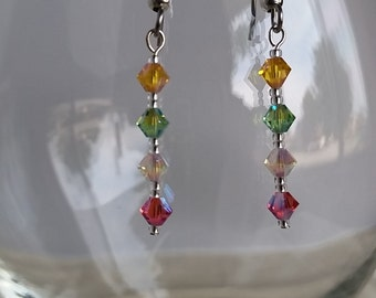 Dangle Earrings with Swarovski Crystal Beads  #071J