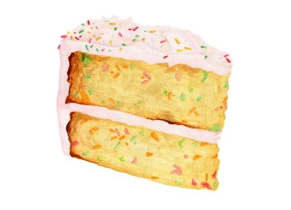 Cake Art Printer : Pink Cake Art // Food Illustration // Archival Art Print