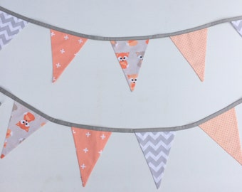 Peach & Grey Foxes Bunting Flags
