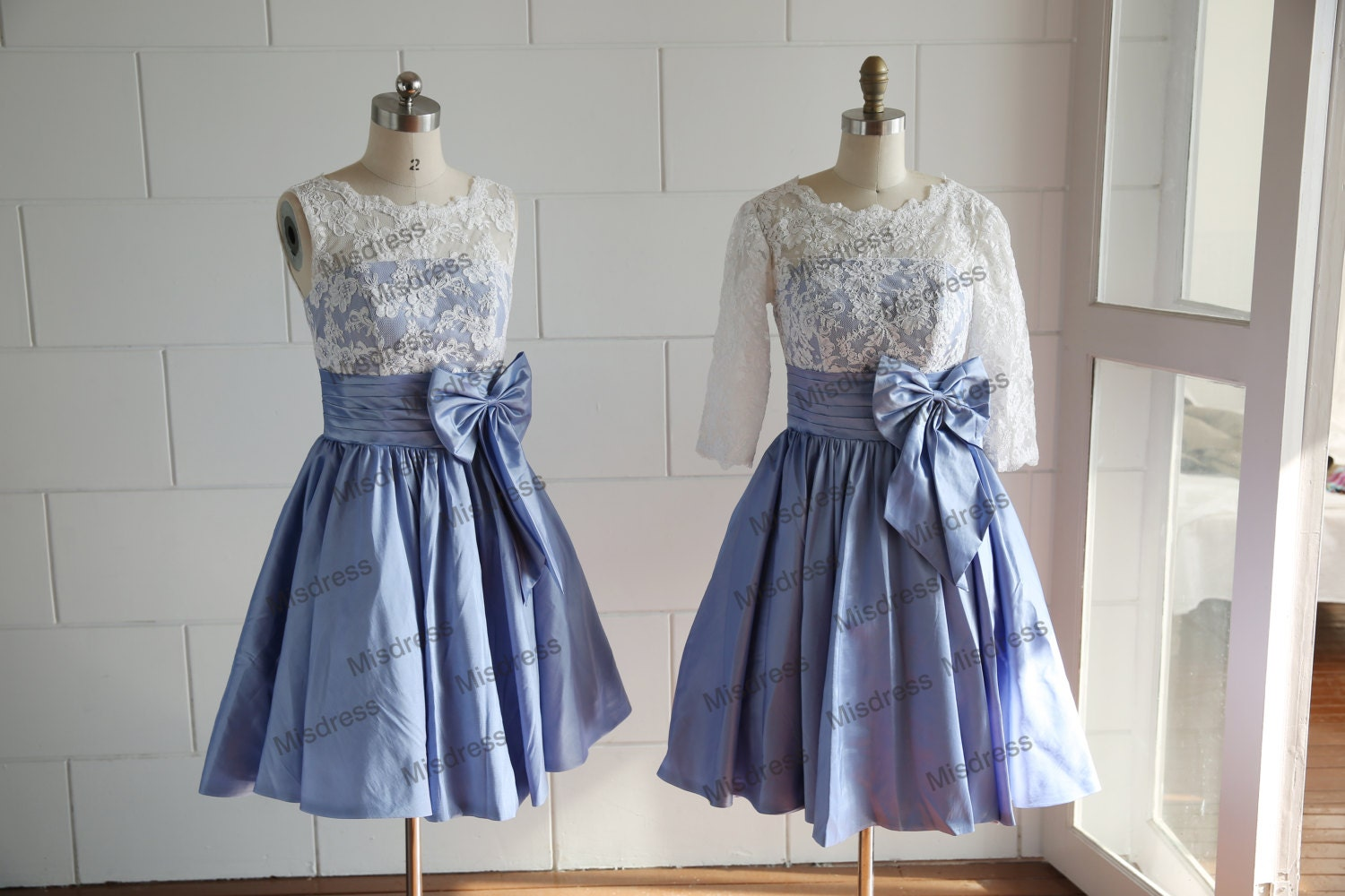 Vintage Inspired V Back Lace Blue Taffeta Elbow Lace By