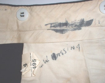 VINTAGE USN navy WWII all-wool officer's winter service trousers 28 X 28 C.W. Bassing good shape