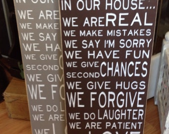 "Hand-painted Wood Sign ""In Our House We Are Real We Make Mistakes Give second chances We love"" House Rules"