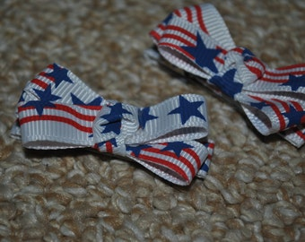 Ribbon Bow hair clip set - American Flag / Stars and Stripes - ClipItUp
