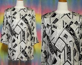 80s Vintage Mini Dress Abstract Black And White Tunic Zig Zag Avant Garde Art Print Retro Vtg 1980s  S-M