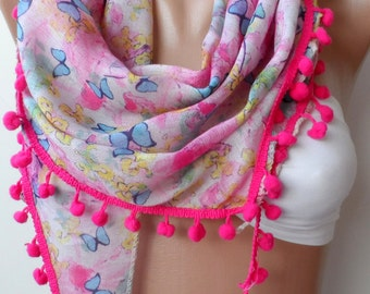 Scarf ,Butterfly pompom scarf, Purple pompom scarf, Cotton scarf,christmas, Elegance scarf,triangle scarf,pink scarf,chic, Christmas scarf
