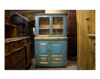 Vintage Shabby Chic Russian Pine Weathered Painted Blue Cupboard