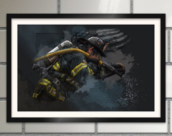 Firefighter Art Print fire department room decor firefighter birthday gift for fireman wall art poster 18x12 dark