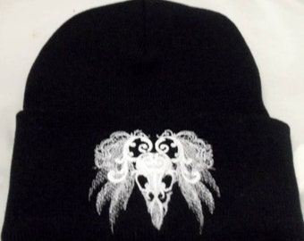 Raven Skull Baroque Style Embroidery On Black Beanie Hat Gothic Wiccan Pagan Winter Hat