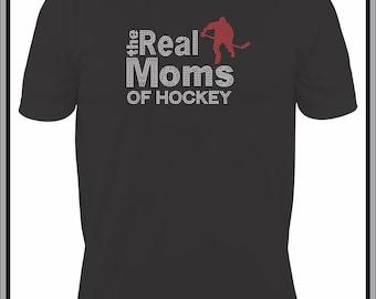 Hockey Mom T Shirt/ Hockey Mom Shirt/ Hockey Mom Clothing/ Hockey Mom Gift/  Rhinestone The Real Moms Of Hockey Mom Short Sleeve T-Shirt