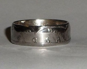 Coin Ring made from 1964 Kennedy  US silver half dollar size 9,10,11 ,12 or 13