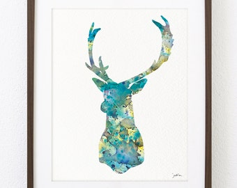 Blue Deer Art Watercolor Print - 8x10 Archival Print - Deer Painting, Buck, Antlers - Deer Art Print - Wall Decor Art Home Decor Housewares