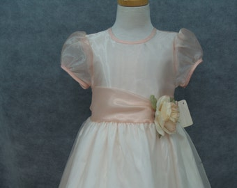 Peach Organza Dress Vintage with sash and silk flower