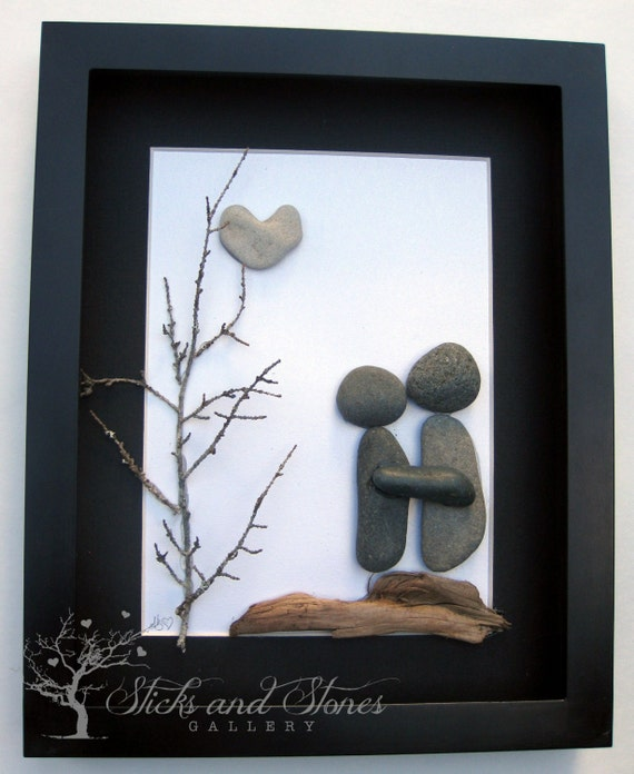 ... Gift- Personalized Couples Gift - Wedding Gift - Pebble Art - Gifts