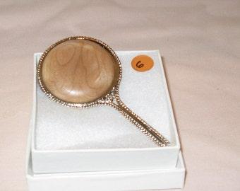 Pewter Finish Mini Vanity Mirror with (Maple Wood insert)
