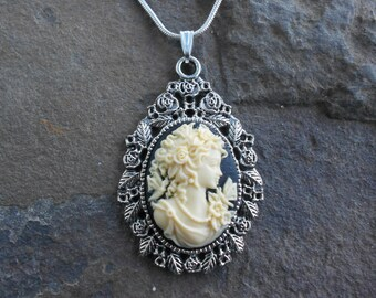 """Stunning Victorian Woman with Butterfly Cameo Pendant Necklace (cream/black)---.925 plated 22"""" Chain--- Great Quality"""