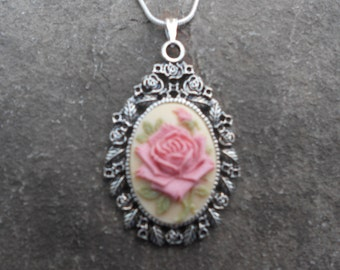 "Stunning Pink Rose Cameo Pendant Necklace---.925 plated 22"" Chain--- Great Quality"