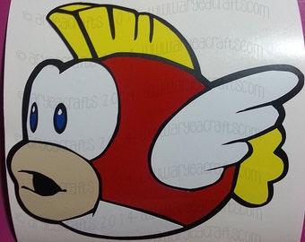 "COLORED (layered) Super Mario Cheep Cheep Fish Vinyl Decal (2.5""-12"")"
