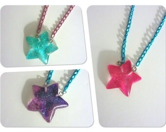 Glitter Resin Star Necklace