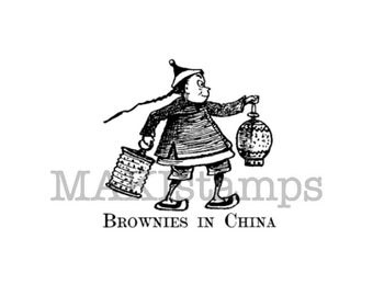 Chinese rubber stamp / Brownies in China / Asian rubber stamp unmounted or cling stamp option (140510)