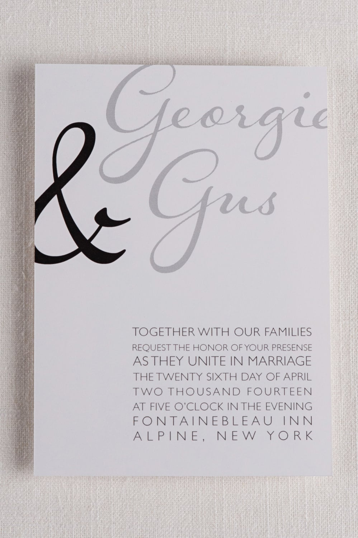 Modern Script Wedding Invitations 5x7 Black And White Gray