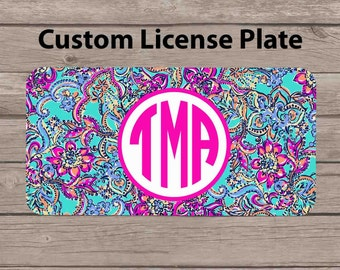 Custom Monogram License Plate - Lilly Pulitzer Inspired Car Tag - Personalized License Plate