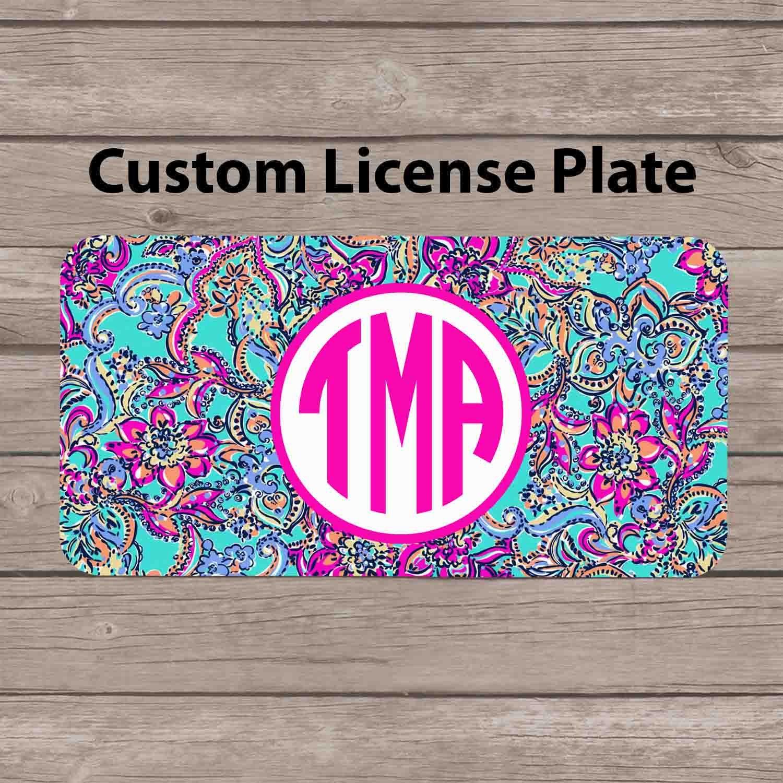 Custom Monogram License Plate Lilly Pulitzer Inspired Car