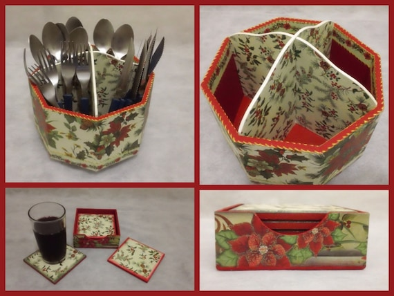 Items similar to christmas utensil holder and coasters