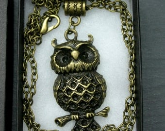 Handcrafted 'Wise Owl' Pendant. Steampunk/ Pagan/ Wiccan. Bronze tone Owl on a chain - with or without box.