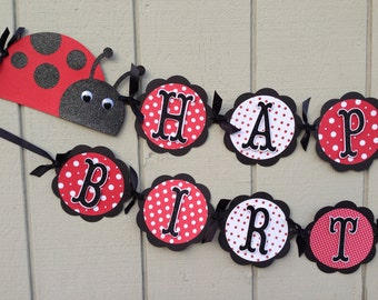 LadyBug Birthday Banner party decorations