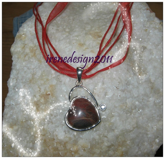 Handmade Red Silk Necklace with Agate Heart in Silver by IreneDesign2011
